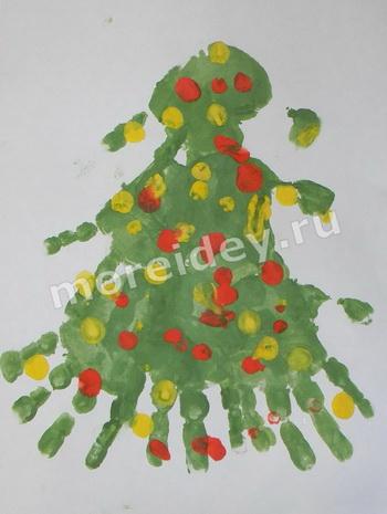 Рисунок ладошками к Новому году - новогодняя елочка
