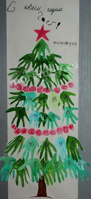 Поделки из ладошек к Новому году: новогоднее панно из ладошек елочка желаний