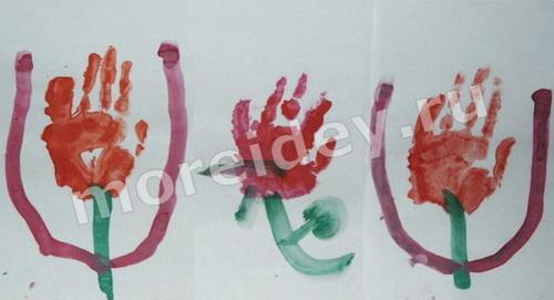 Цветы - рисунок ладошками