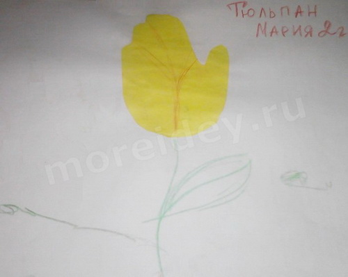 рисунки из ладошек - аппликация тюльпан