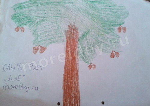 Дуб - рисунок из детских ладошек