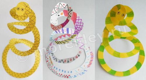 поделки из цветной бумаги: объемные животные - змея
