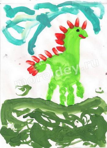 Рисунок ладошкой динозаврик