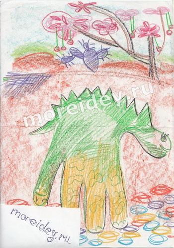 Рисунки ладошками: динозавр
