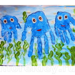Морские животные – поделки и рисунки из ладошек - 1