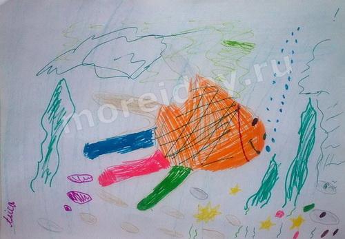 Рисунки из ладошек: рыбка