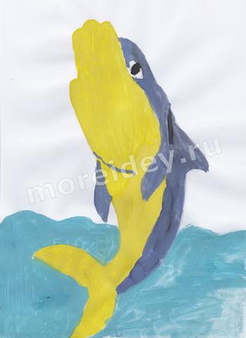 рисование ладошками: рисунок из ладошки дельфин