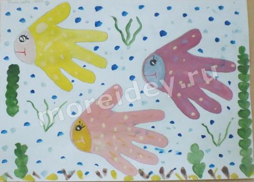 Рисунок ладошками рыбки - (аквариум, подводный мир)