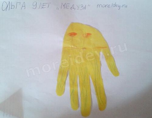 Морские животные из ладошек: медуза из ладошки