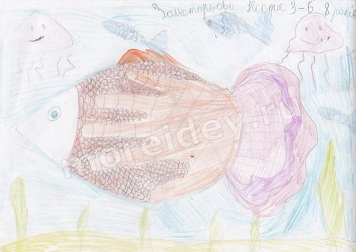 Рисунки ладошками: рисунок рыбка