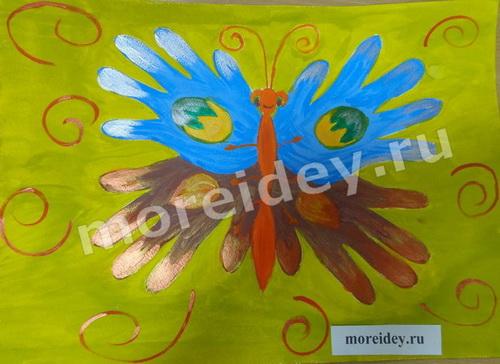 Бабочка - рисунок ладошками