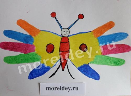 Детский рисунок ладошками бабочка