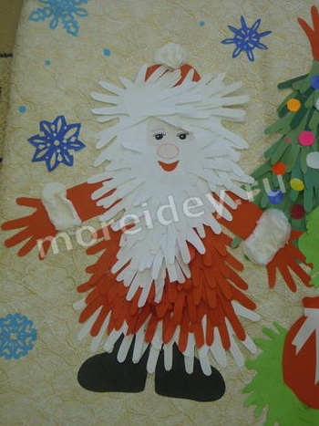Поделка (аппликация) к Новому году из ладошек - Дед Мороз