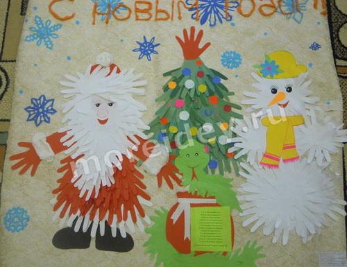 Детская коллективная (групповая) поделка к Новому году в детском саду - новогоднее панно