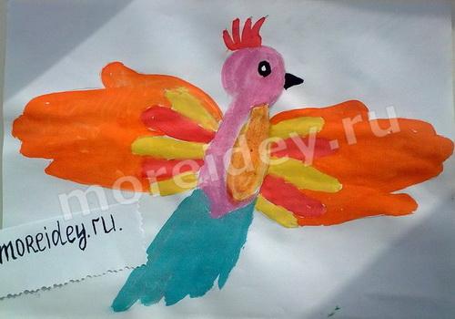 Рисование ладошками: рисунок из ладошек Жар-Птица