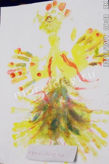 Жар-птица - рисунок ладошками