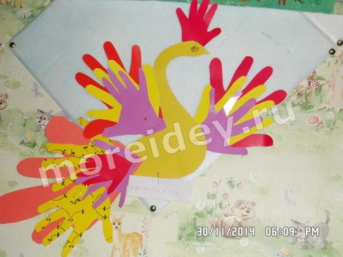 Жар-птица - поделка из бумажных детских ладошек