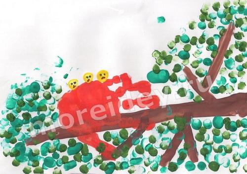 Рисунки ладошками: птенцы в гнезде