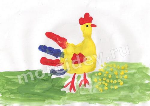 Рисунки ладошками: петушок