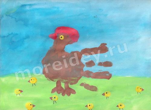 Рисунки ладошками: курочка с цыплятами