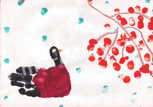 Рисование ладошками: рисунок снегирь