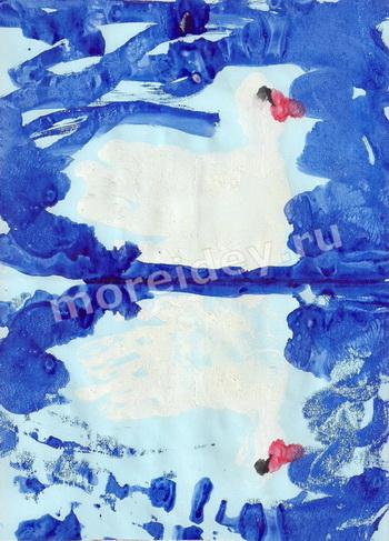 Нетрадиционные техники рисования: монотипия и отпечатки ладошки - рисунок лебедь
