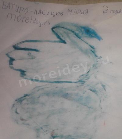 Птицы из ладошек: рисунок ладошками лебедь