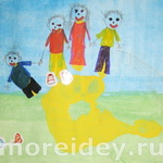 Люди, семья – рисунки из ладошек