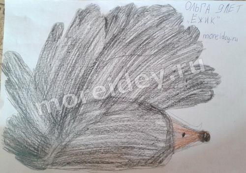 Ежик - рисунок детскими ладошками