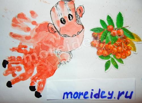 Рисунки отпечатками детских ладошек - сказочное животное