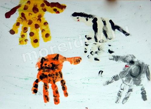 Рисунки ладошками - животные
