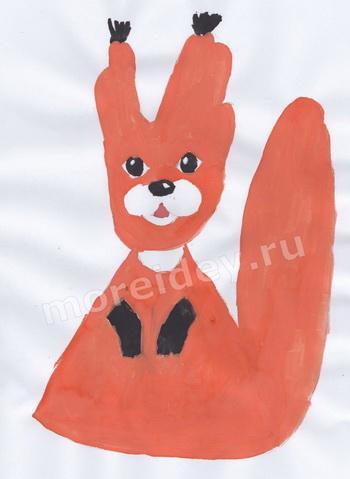 Животные из ладошек: белочка - детский рисунок ладошками