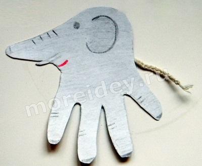 Животные из ладошек: поделка слон из ладошек