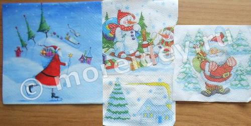 Салфетки с новогодними рисунками для декупажа