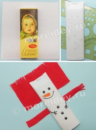 Оригинальная упаковка сладкого подарка к новому году - снеговик из шоколадки