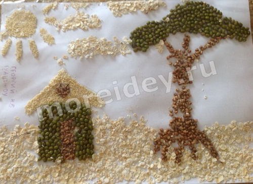 Аппликация из семян и круп