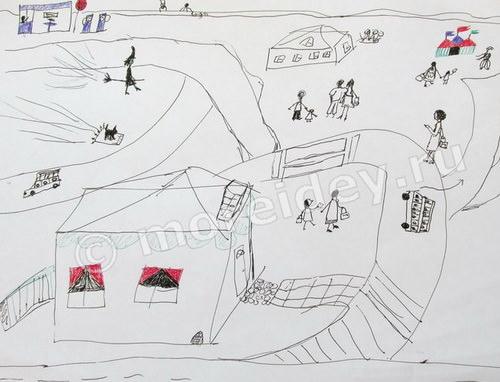 Детский рисунок город