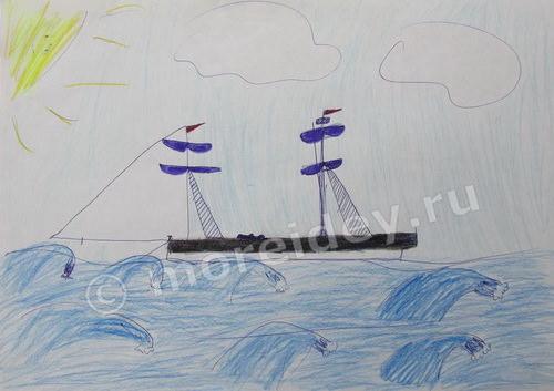 Детский рисунок Кораблик