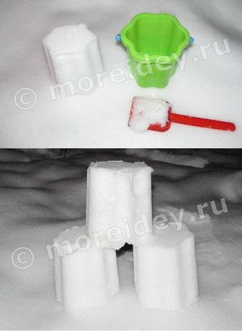 Детские игры со снегом на улице зимой
