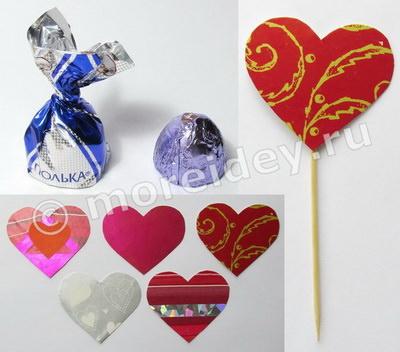 Подарок из конфет к 14 февраля быстро и просто