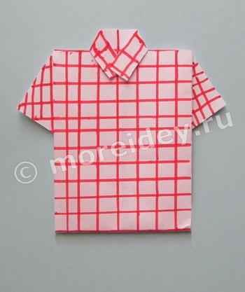 Открытка к 23 февраля с рубашкой-оригами мастер класс