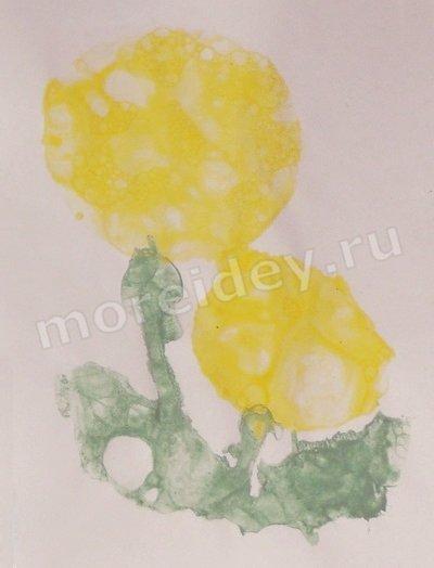 Одуванчики - рисунок мыльными пузырями (рисование в нетрадиционной технике)