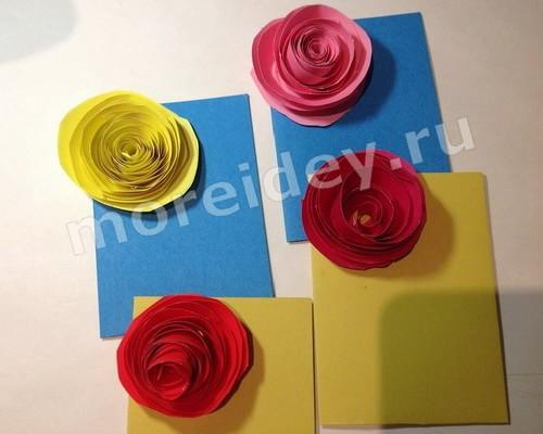 Открытки с цветами розами своими руками к 8 марта