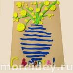 Ваза с мимозой - открытка к 8 марта из пластилина своими руками
