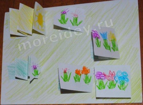 Весенние поделки: открытка с цветами