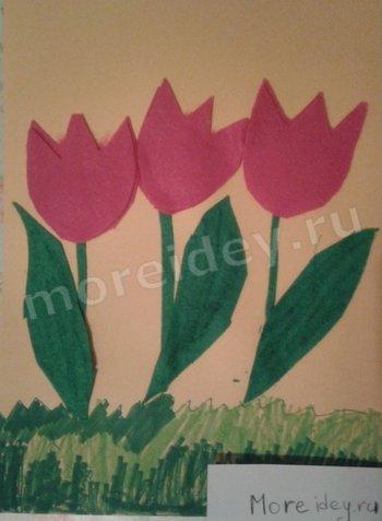 детская поделка цветы тюльпаны