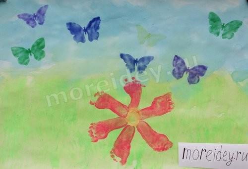 весна - детский рисунок ножками и воздушными фломастерами