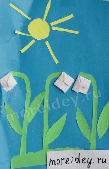 детская весенняя поделка аппликация с элементами оригами подснежники