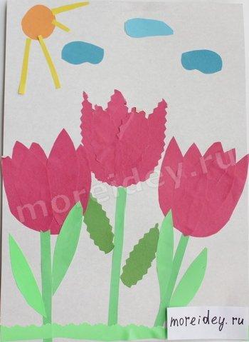 детская поделка аппликация цветы тюльпаны для мамы на 8 марта
