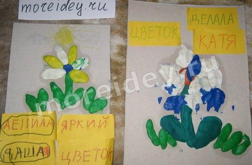 детские поделки на тему весна - рисунок пластилином